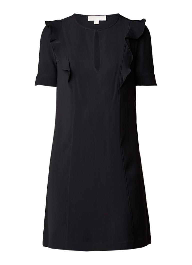 Michael Kors Loose fit jurk met ruches en keyhole zwart