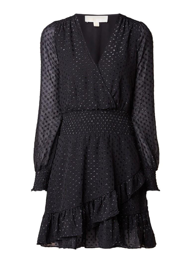 Michael Kors Clip A-lijn jurk met lurex jacquarddessin en volant zwart