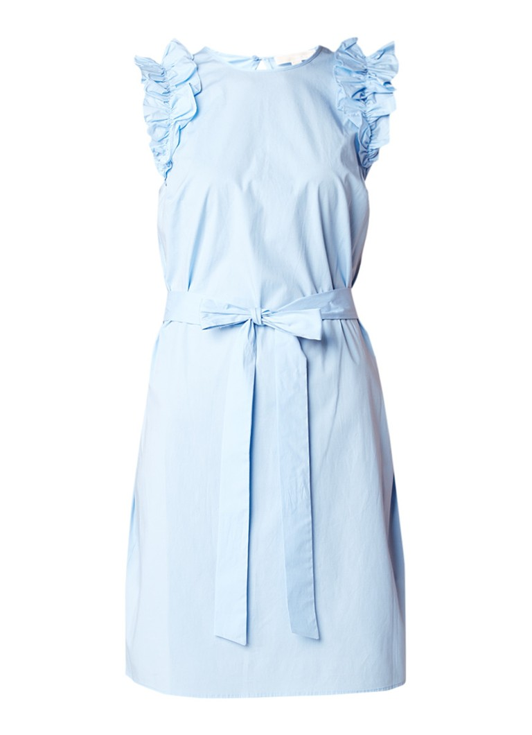 Michael Kors Mouwloze jurk met ruches en ceintuur lichtblauw