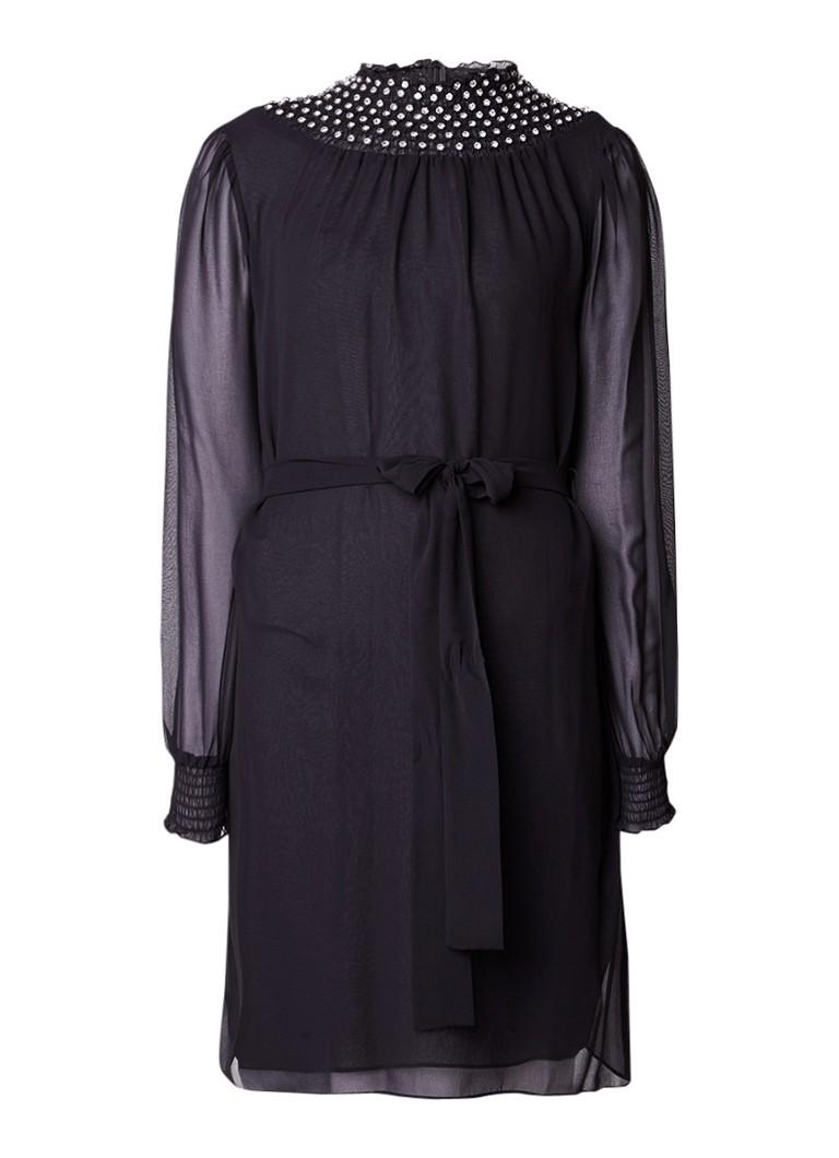 Michael Kors Midi-jurk met strikceintuur en strass stenen zwart