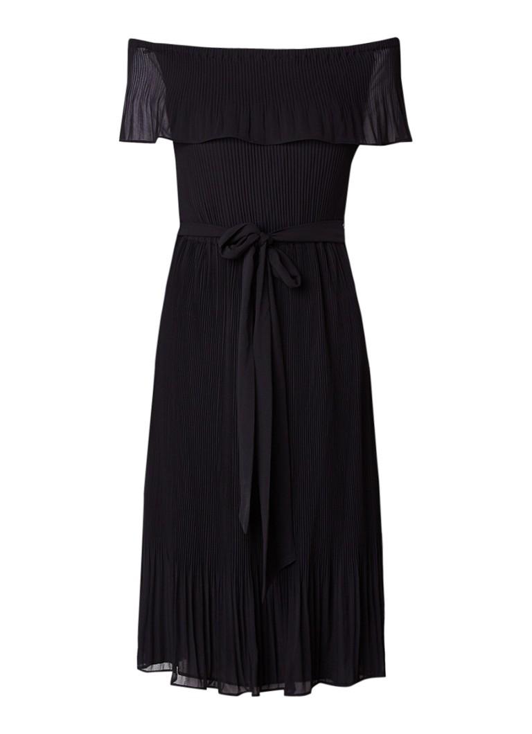 Michael Kors Off shoulder plissé jurk met ceintuur zwart