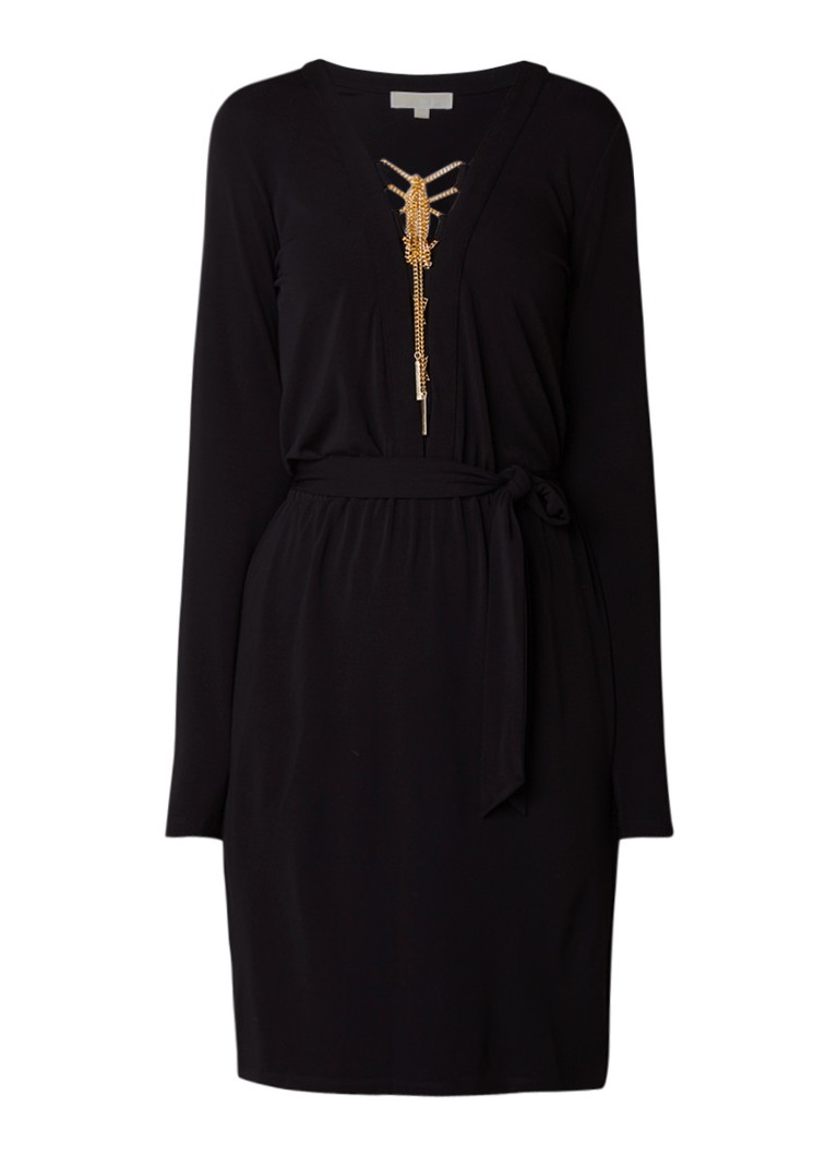 Michael Kors Safari midi-jurk strikceintuur en gouden details zwart