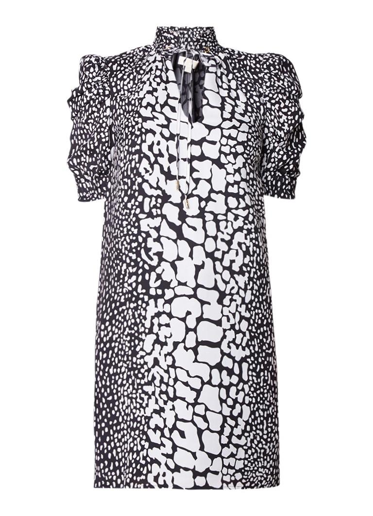 Michael Kors Tuniekjurk van zijde met schoudervulling en animaldessin zwart