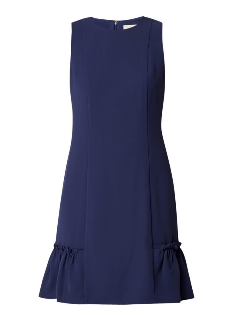 Michael Kors A-lijn jurk van crêpe met ruches donkerblauw