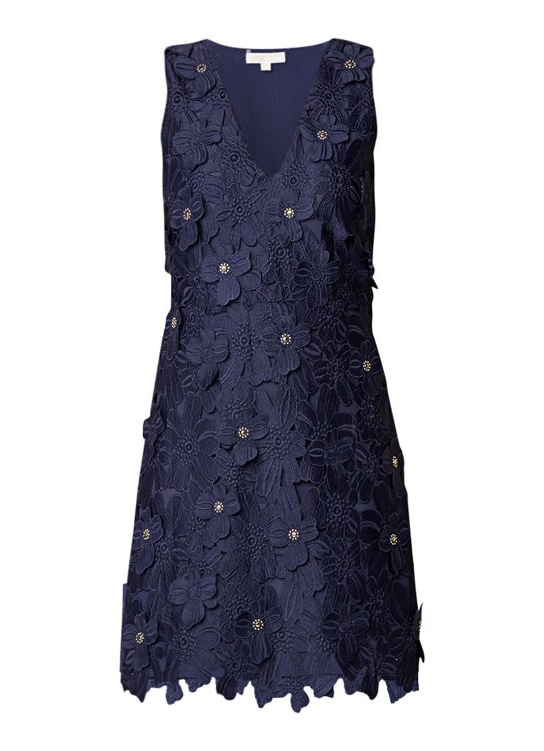 Michael Kors Floral jurk van gebloemd kant met V-hals donkerblauw