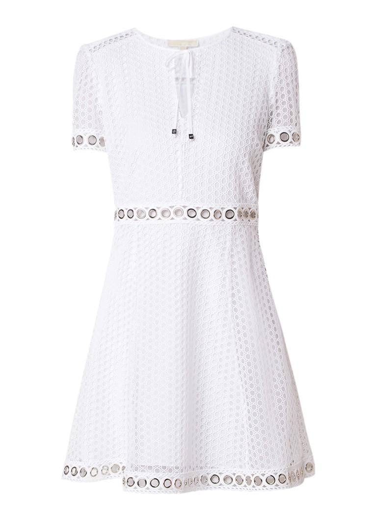 Michael Kors A-lijn jurk van kant met eyelet detail wit