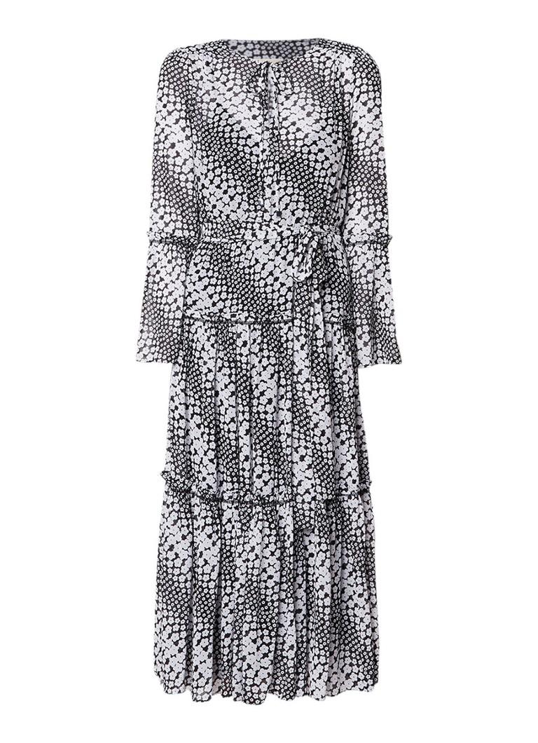 Michael Kors A-lijn jurk met volant met bloemendessin zwart