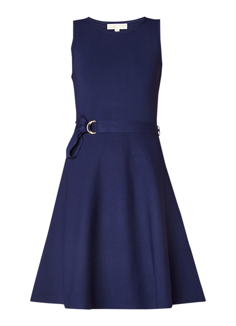 Michael Kors Fijngebreide A-lijn jurk met ceintuur donkerblauw