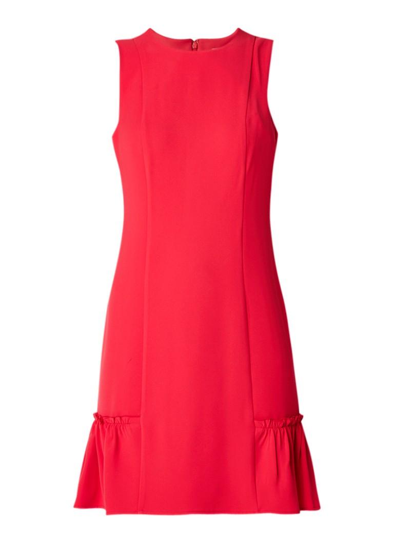 Michael Kors Mouwloze midi-jurk met ruches en volant rood