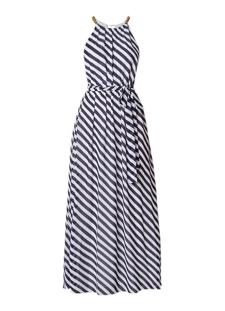 Michael Kors Maxi halterjurk met streepdessin en strikceintuur donkerblauw
