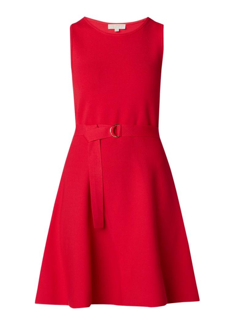 Michael Kors A-lijn jurk van jersey met ceintuur rood
