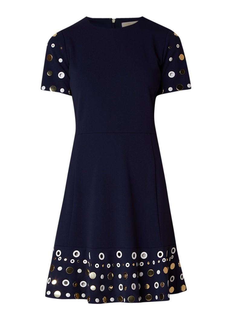 Michael Kors A-lijn jurk met eyelet detail en studs donkerblauw