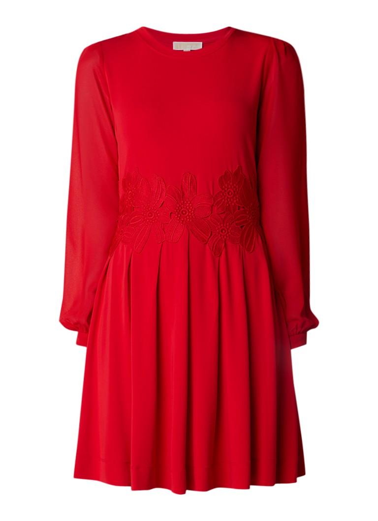Michael Kors A-lijn jurk met bloemborduring en contrastmouw rood