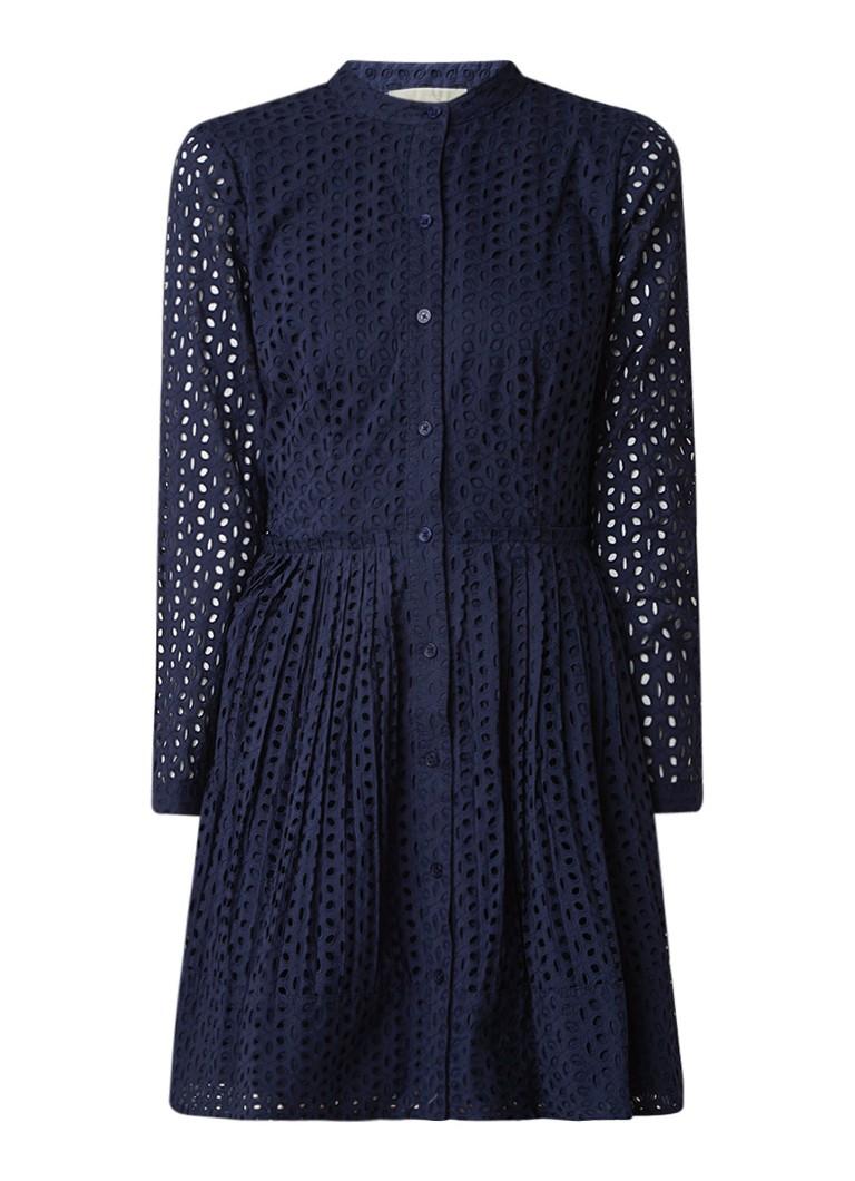 Michael Kors Daisy A-lijn blousejurk met broderie donkerblauw