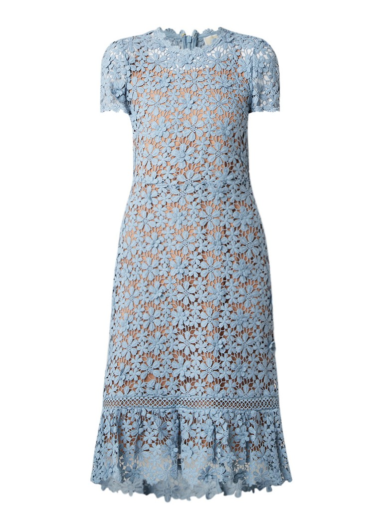 Michael Kors Midi-jurk van gebloemd kant met onderjurk lichtblauw