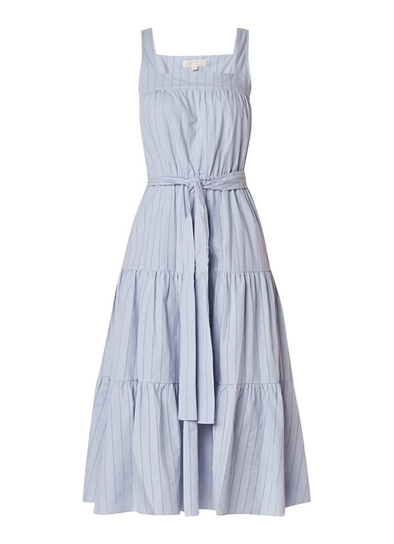 Michael Kors Midi-jurk met ingeweven streepdessin lichtblauw