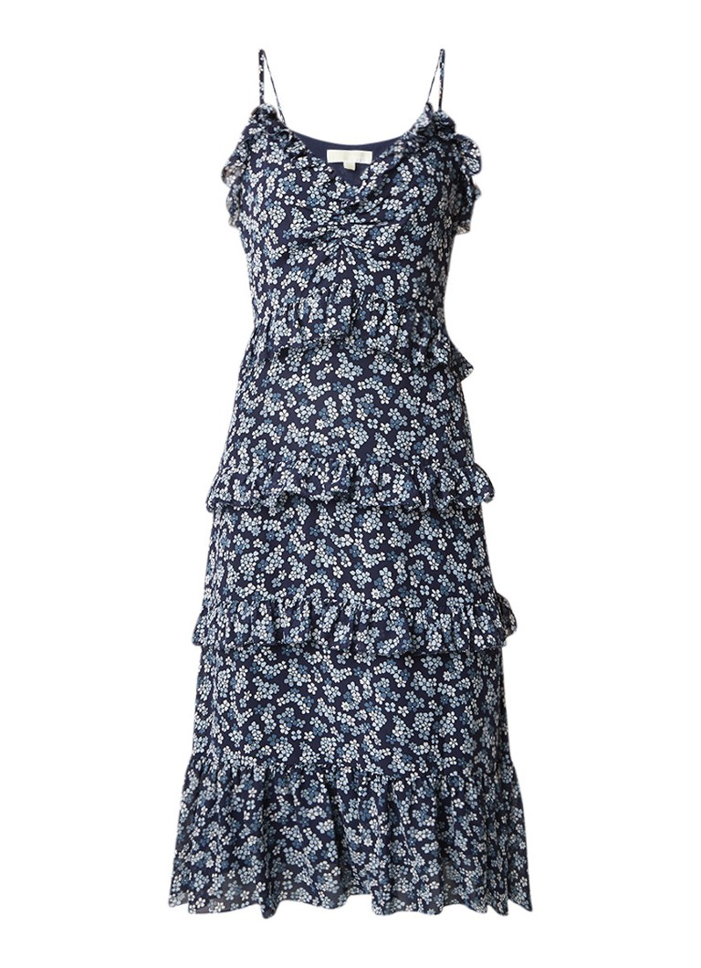 Michael Kors Midi-jurk met ruches en bloemendessin blauw