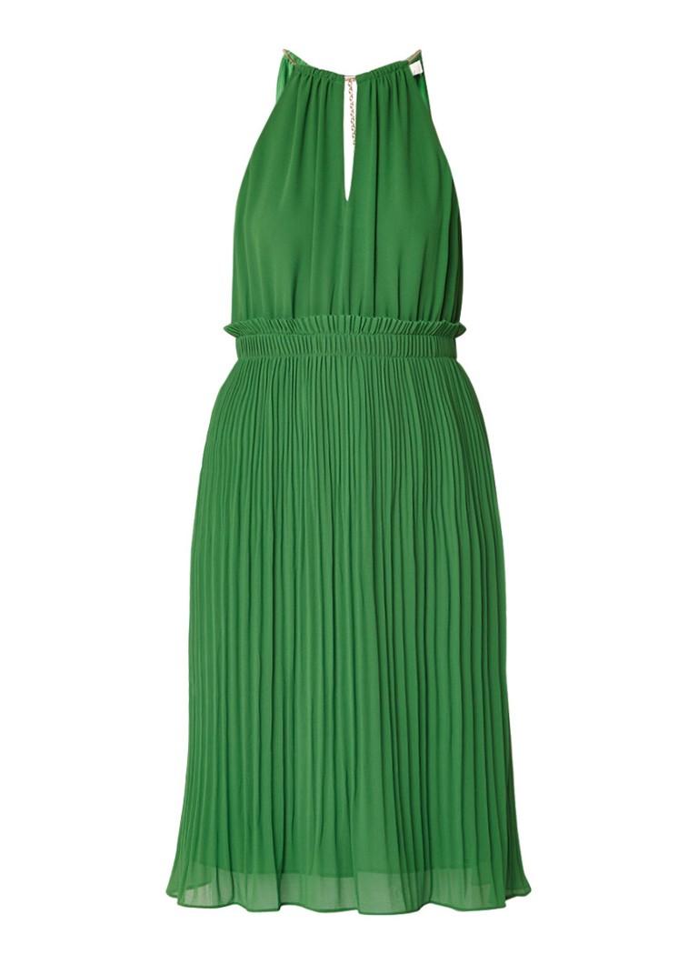Michael Kors Goddess Chain midi-jurk van chiffon met plissé groen
