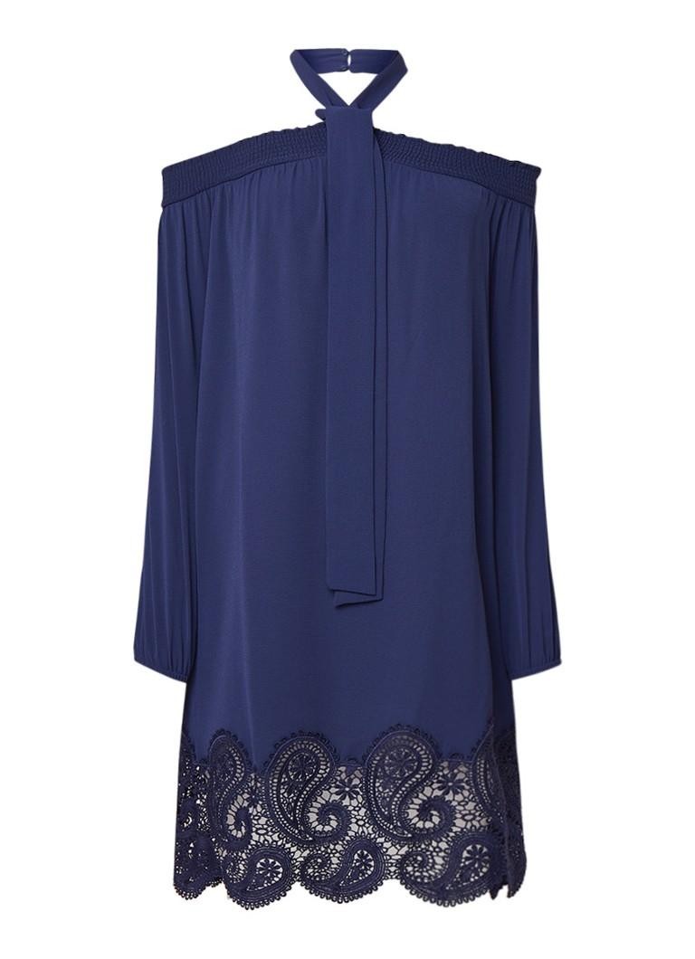 Michael Kors Off shoulder jurk met zoom van kant donkerblauw