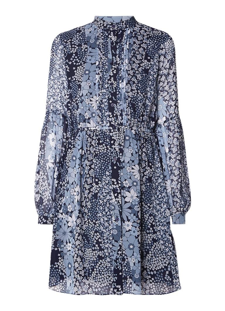 Michael Kors A-lijn blousejurk van chiffon met bloemendessin blauw