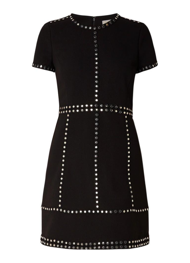 Michael Kors Midi-jurk van crêpe met studs zwart