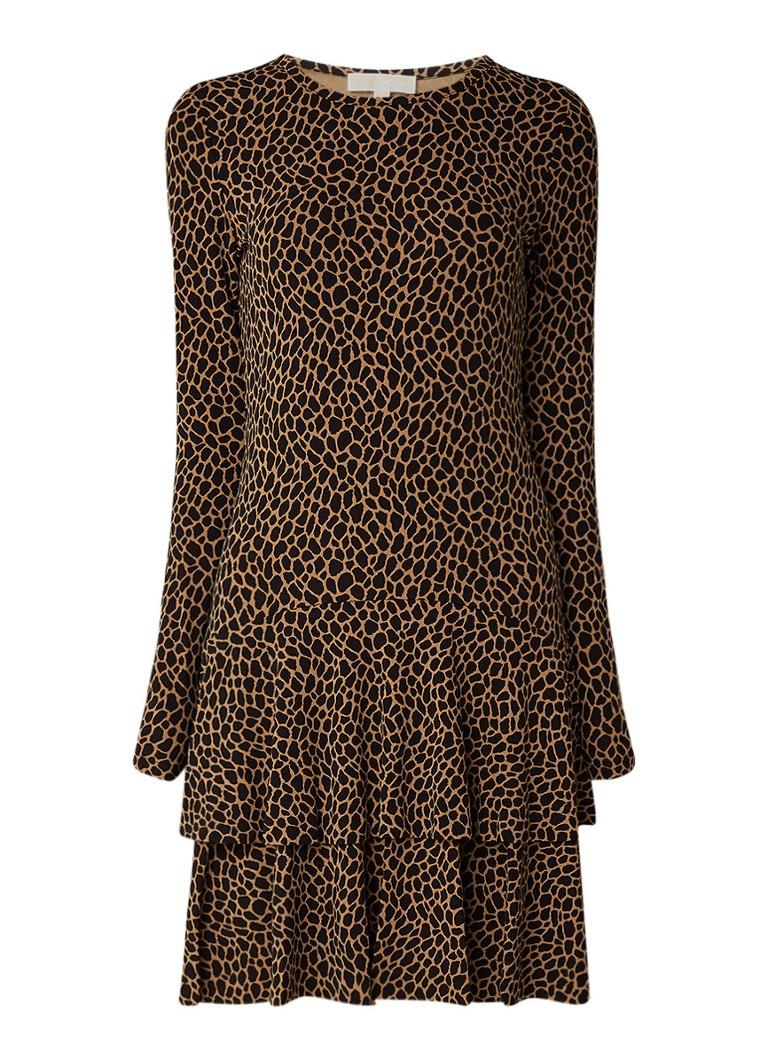 Michael Kors Midi-jurk van stretchjersey met luipaarddessin lichtbruin