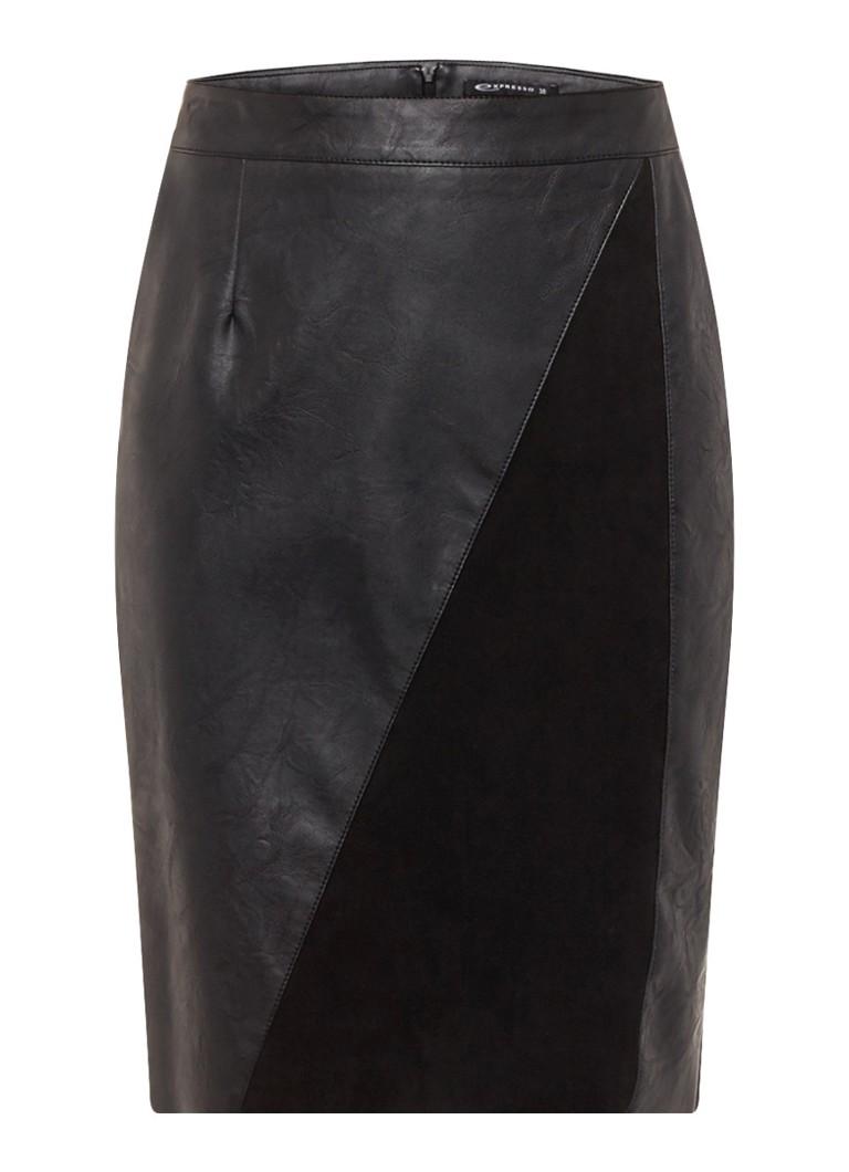 Expresso Badge rok van imitatieleer zwart