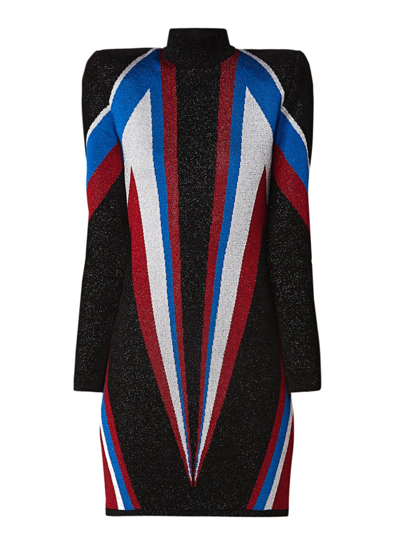 Balmain Fijngebreide mini-jurk met grafisch dessin en lurex