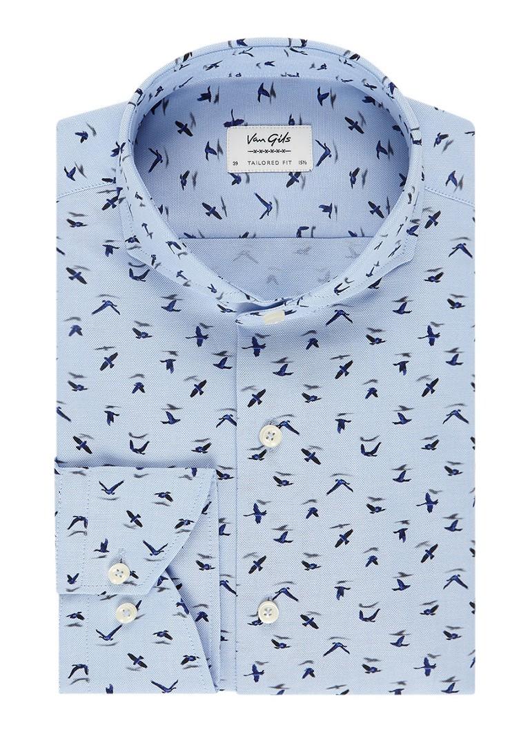 Van Gils Eden tailored fit overhemd met vogelprint