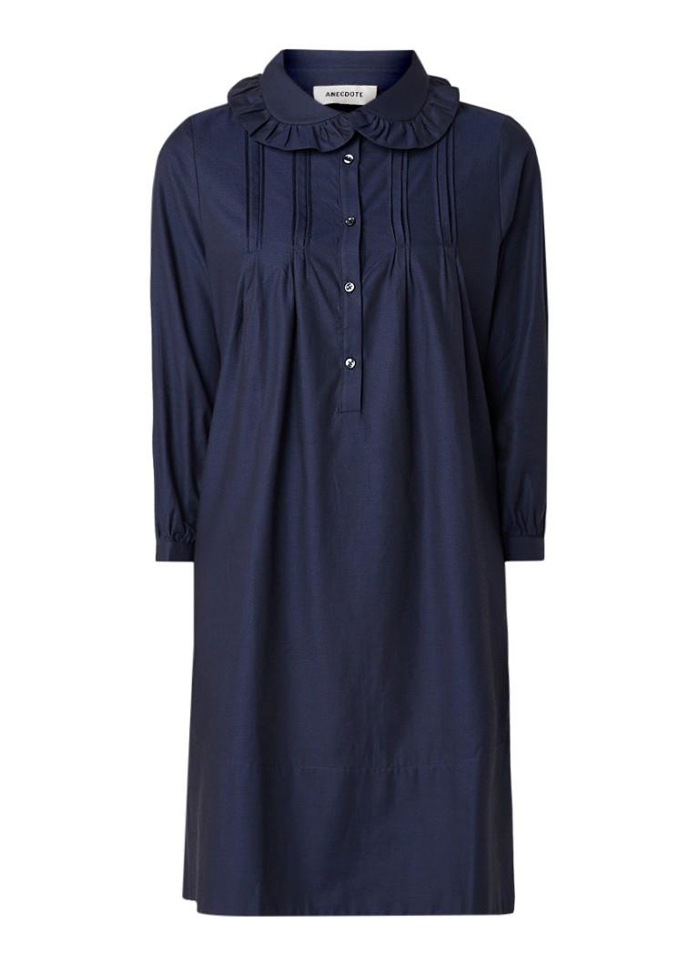 Anecdote Darcia mini-jurk van katoen met gesmockt detail donkerblauw