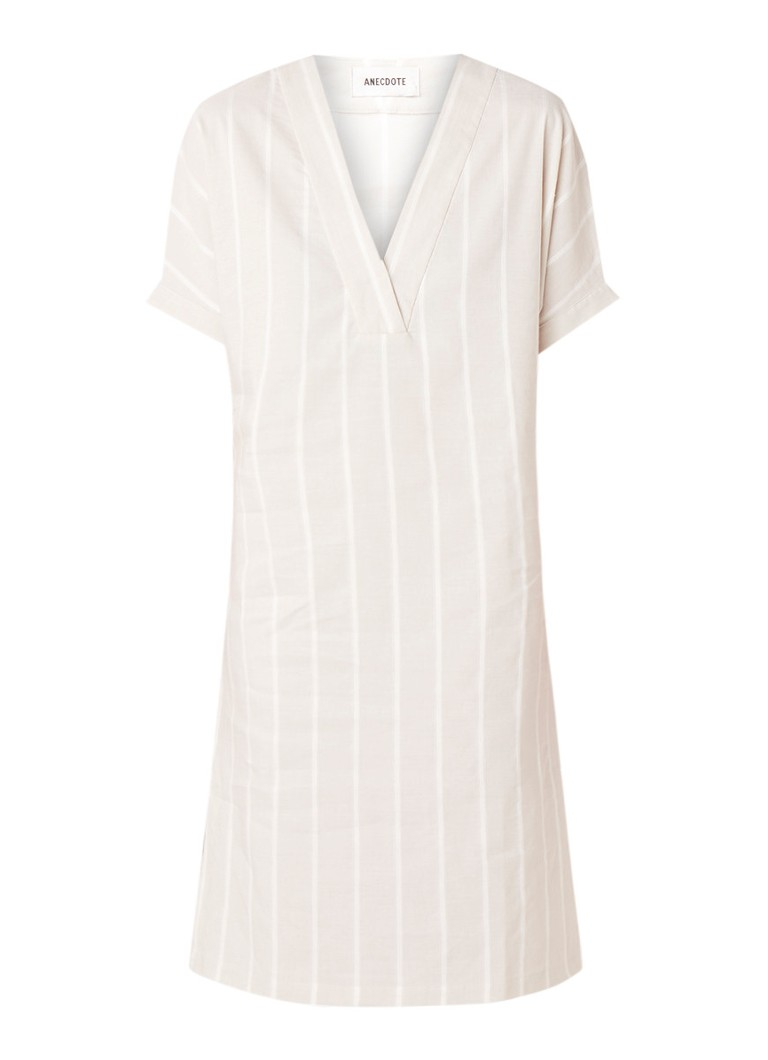 Anecdote Delilah midi-jurk in linnenblend met streepdessin beige