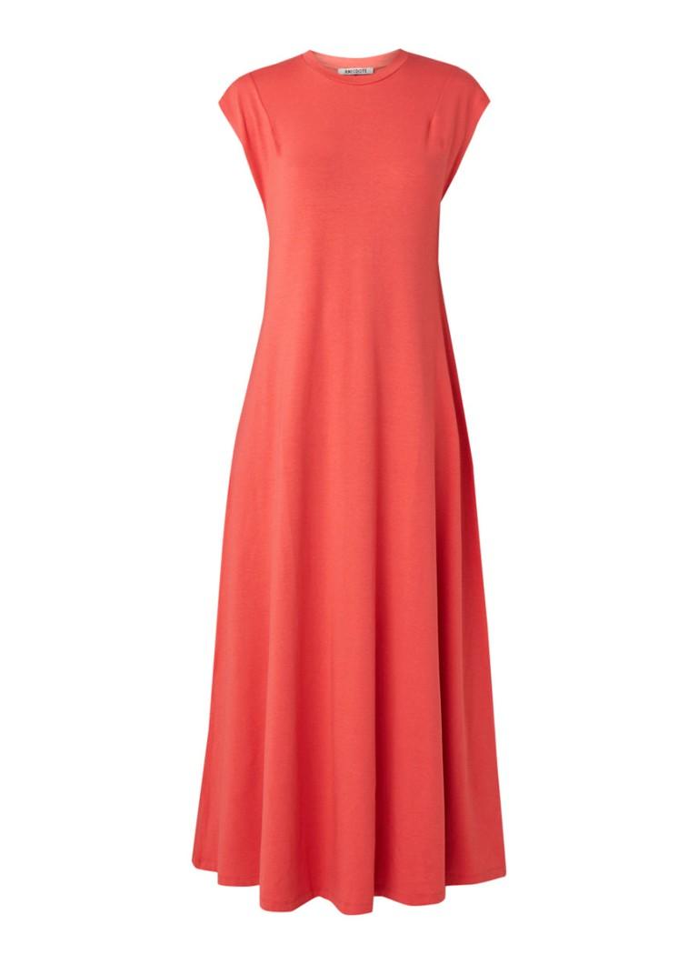 Anecdote Dilla maxi-jurk van jersey koraalrood
