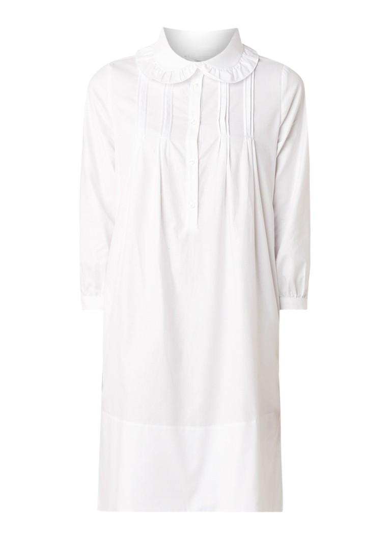 Anecdote Darcia mini-jurk van katoen met gesmockt detail wit