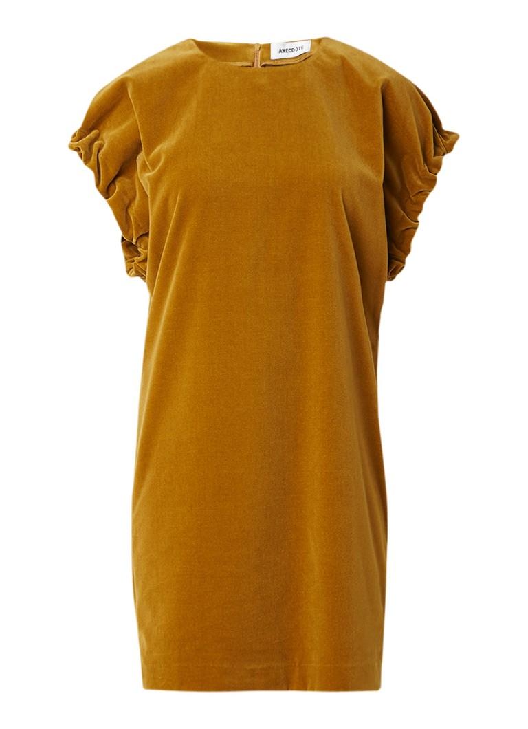 Anecdote Dolores jurk van fluweel met gerimpelde armsgaten goud