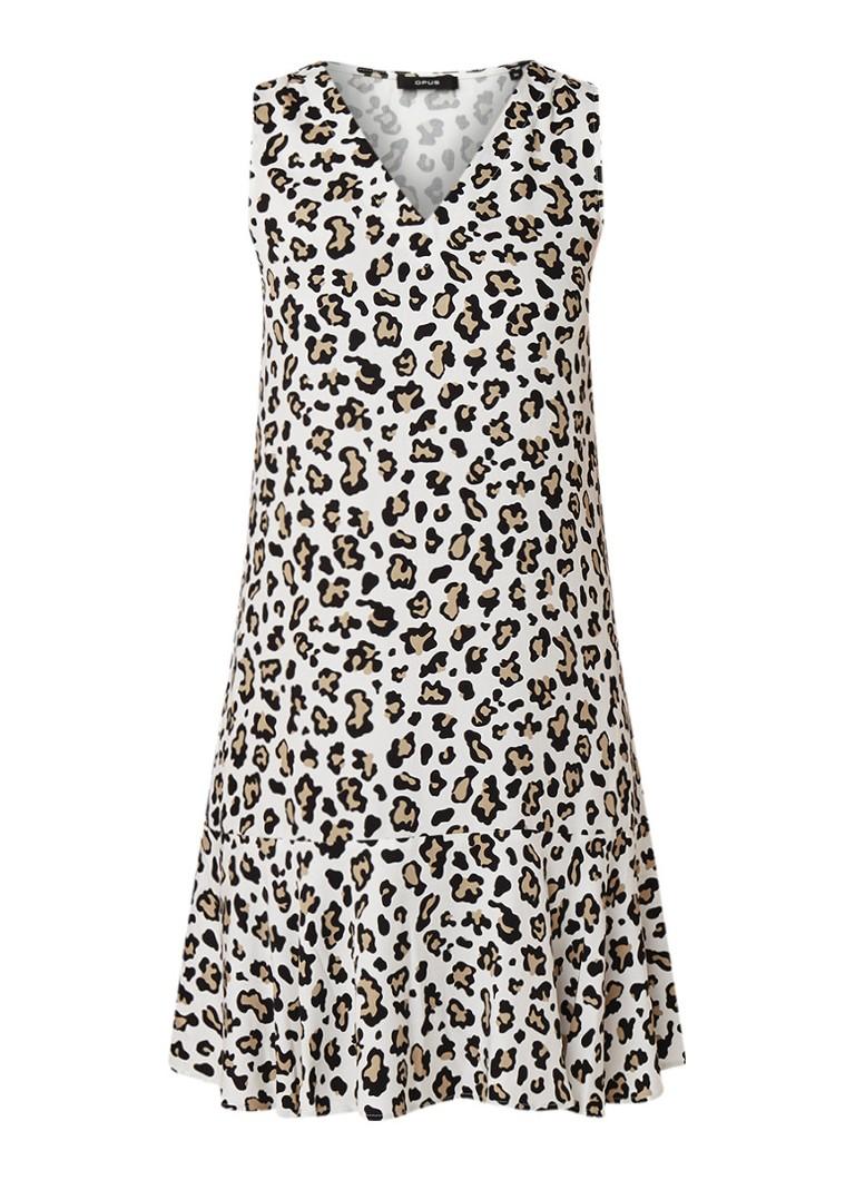 Opus Welinka mouwloze jurk met luipaarddessin en volant ivoor