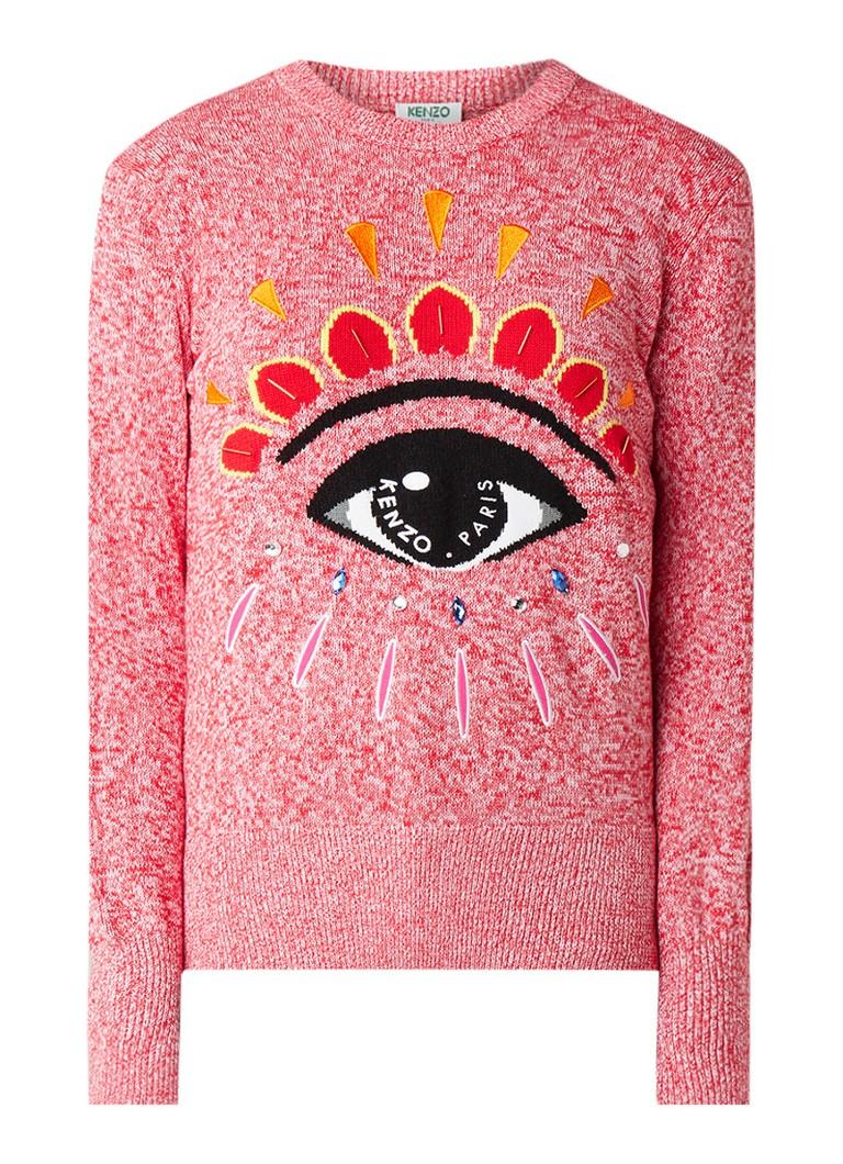 KENZO Eye pullover met ingebreid dessin en strass