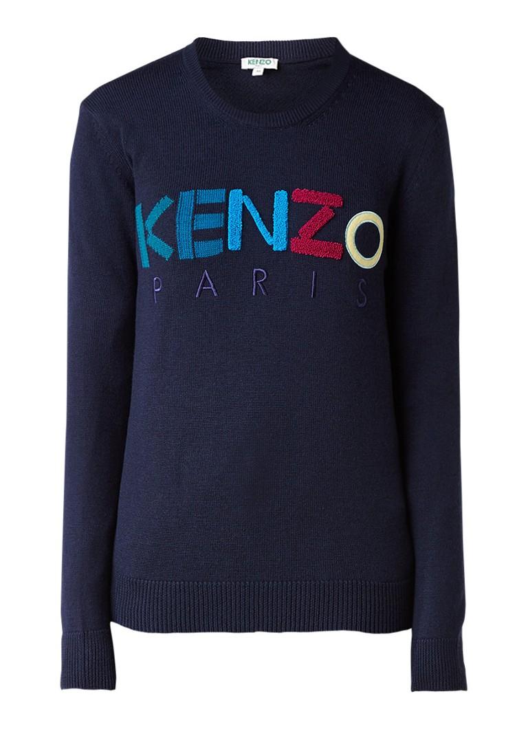 KENZO Pullover van wol met logo applicatie