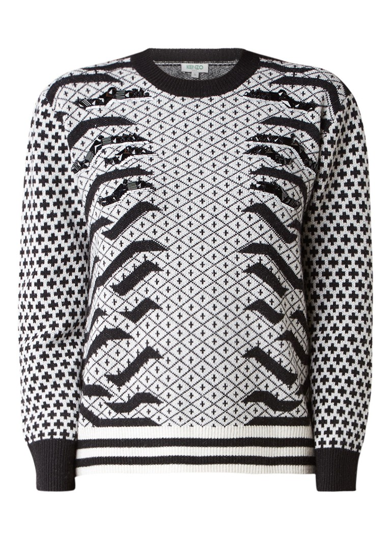 KENZO Pullover met jacquarddessin en strass