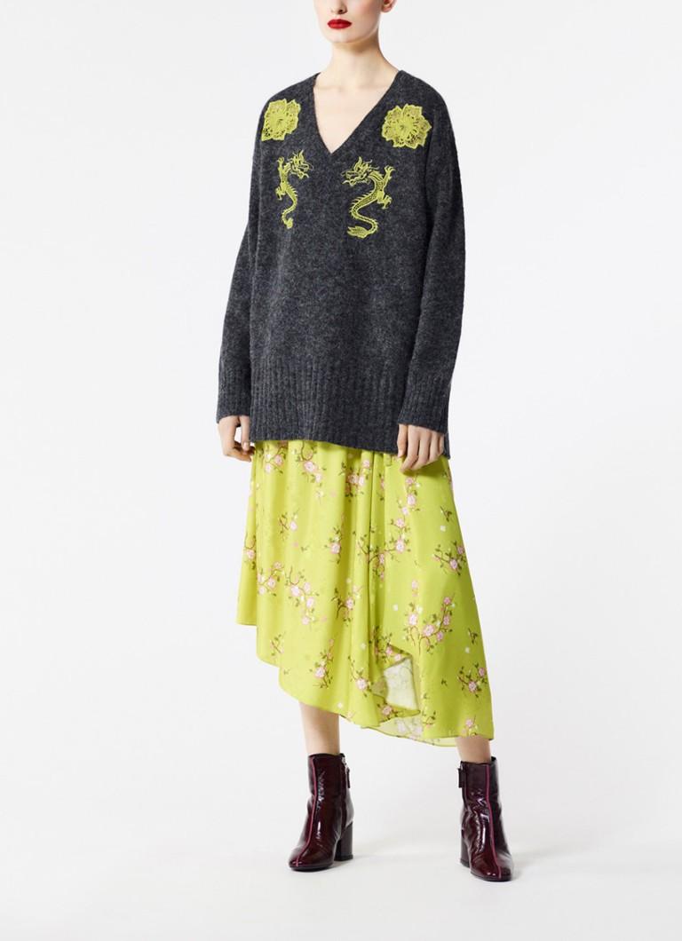 KENZO Dragon loose fit pullover in alpacablend met borduring
