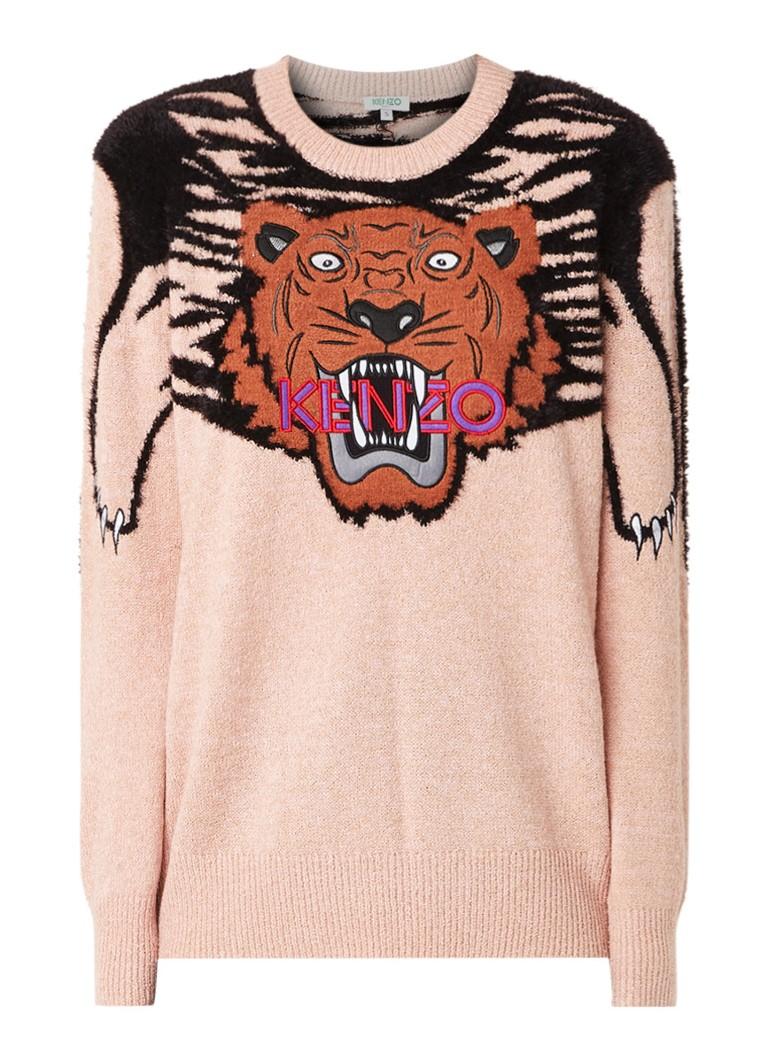 KENZO Tiger fijngebreide pullover met logoborduring