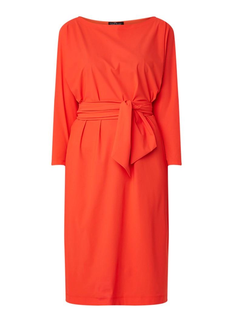 LaDress Caroline jurk van jersey met ceintuur oranje
