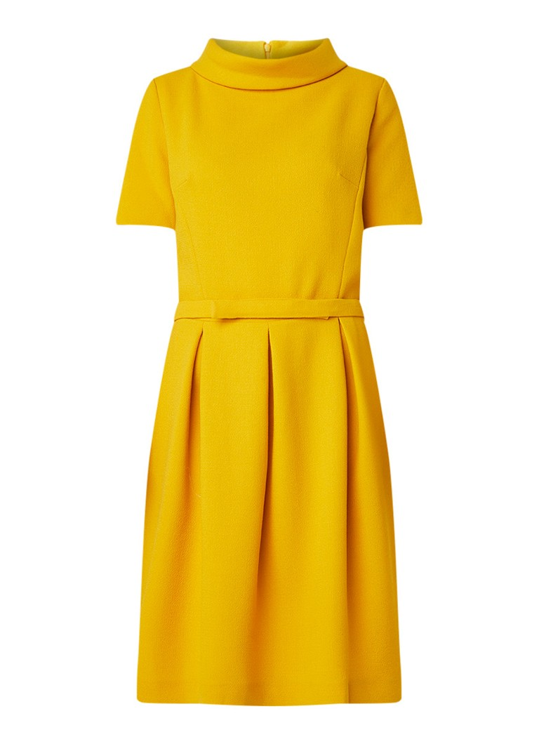 LaDress Rose jurk van wol met ceintuur okergeel