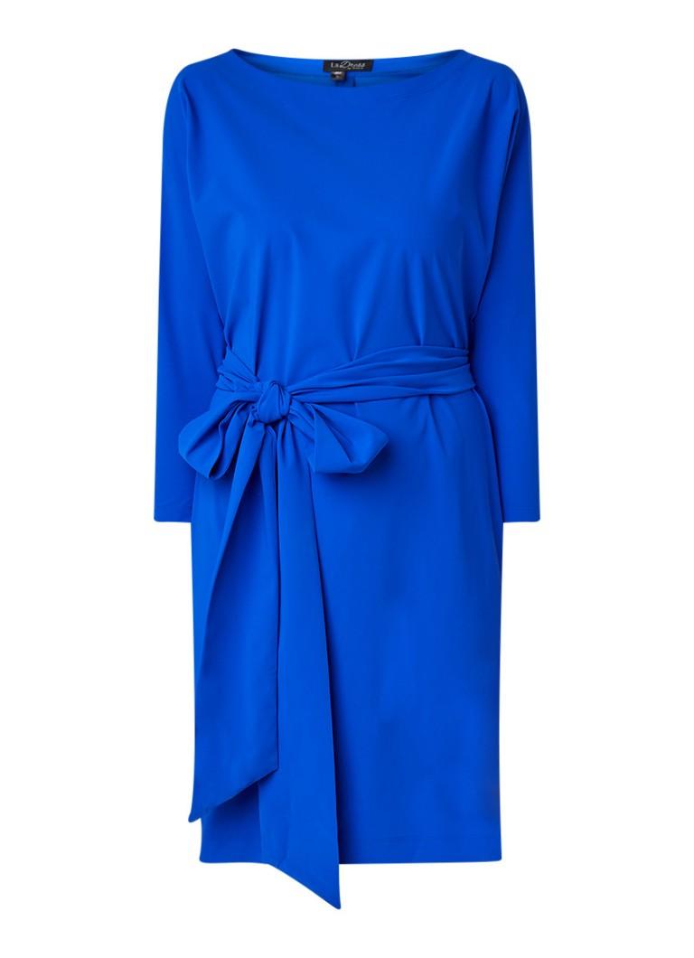 LaDress Carla midi-jurk met strikceintuur royalblauw
