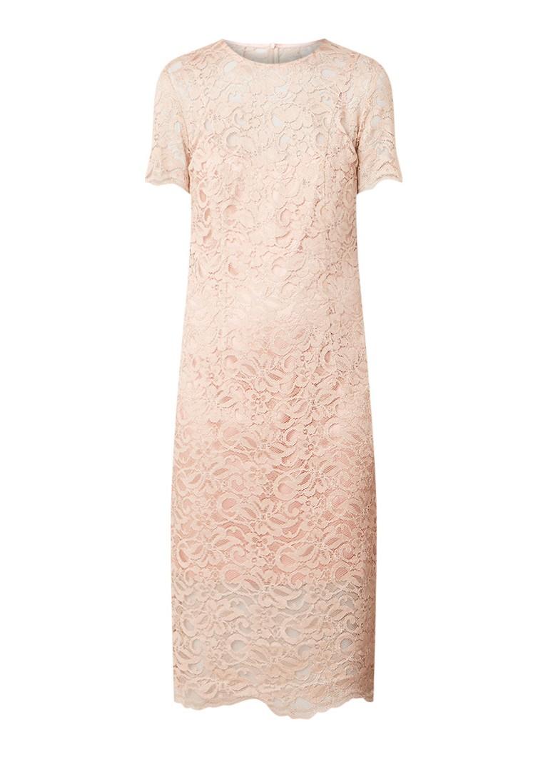 LaDress Adriana midi-jurk van kant oudroze