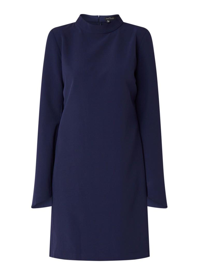 LaDress Indira midi-jurk met flared mouw donkerblauw