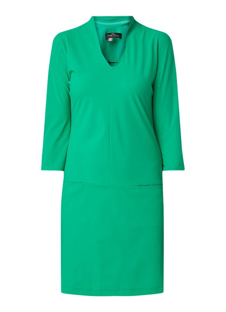 LaDress Sade tuniekjurk van stretchjersey met driekwart mouw groen