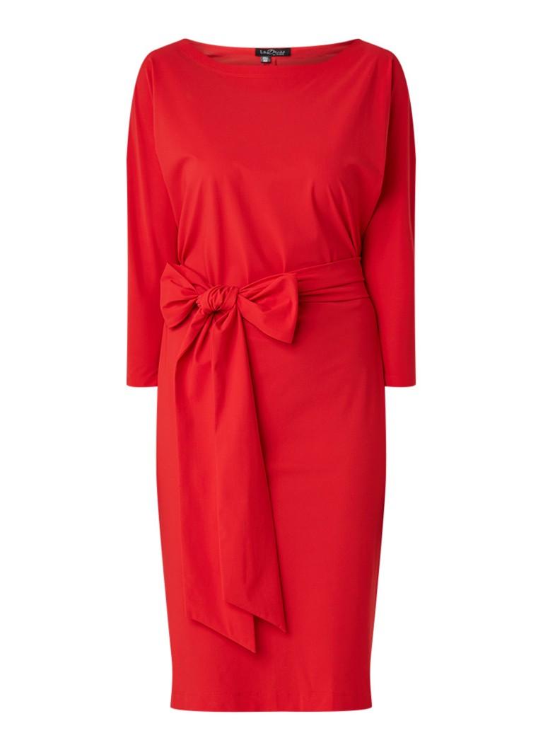 LaDress Caroline midi-jurk met strikceintuur rood