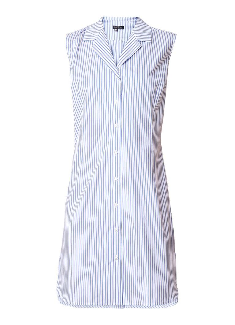 LaDress Mae mouwloze blousejurk met streepdessin lichtblauw