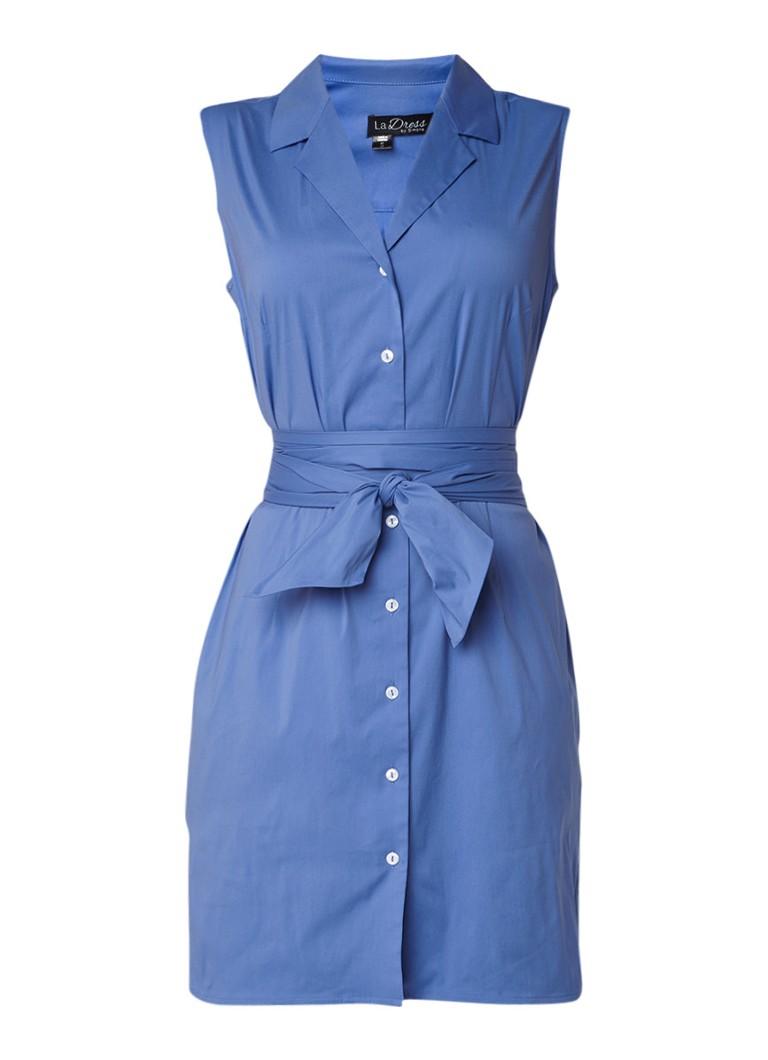 LaDress Janis mouwloze blousejurk met ceintuur lichtblauw