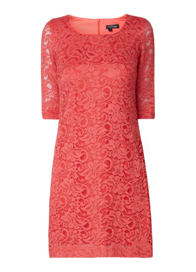 LaDress Norah jurk van kant koraalrood